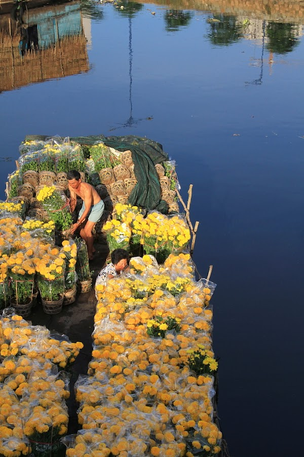 Flower boat in New year holidays by Phạm Tỵ - People Street & Candids
