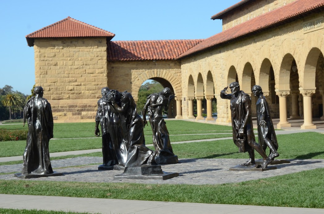 Statues by Auguste Rodin are scattered through the campus