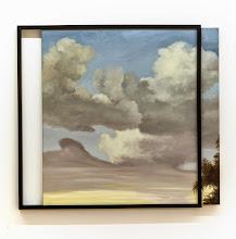 Photo: Cielo inanimado azul (desplazamiento lateral) 2014 Óleo sobre tela y molduras 93 x 102 cm