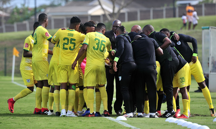 Baroka FC players and huddle together before kickoff against Lamontville Golden Arrows in Durban on November 10 2018.