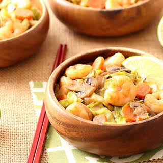 """Thai Sweet Chili Shrimp With Cabbage """"Noodles""""."""