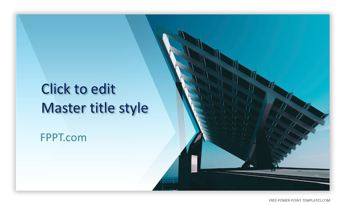 This introduction slide features blue skies and solar panels.