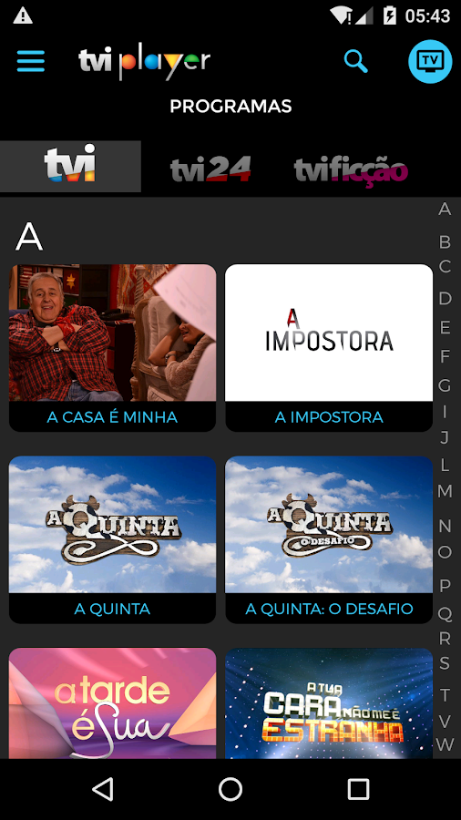 TVI Player– captura de ecrã