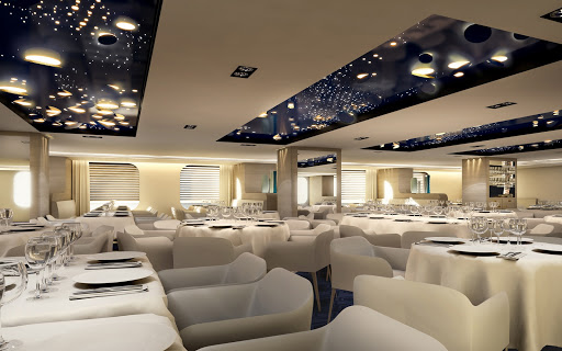 le-lyrial-dining.jpg - Dine in style on French dishes, cheeses and desserts on Ponant's luxury ship Le Lyrial.