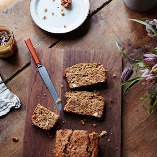 Healthy Breakfast Bread with Seeds, Almonds, and Figs.