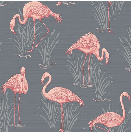 Flamingo Tapet i mörkgrått och rosa från Arthouse