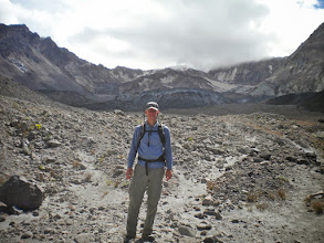 Photo: That's the glacier even with the top of my cap with the lava domes also shown