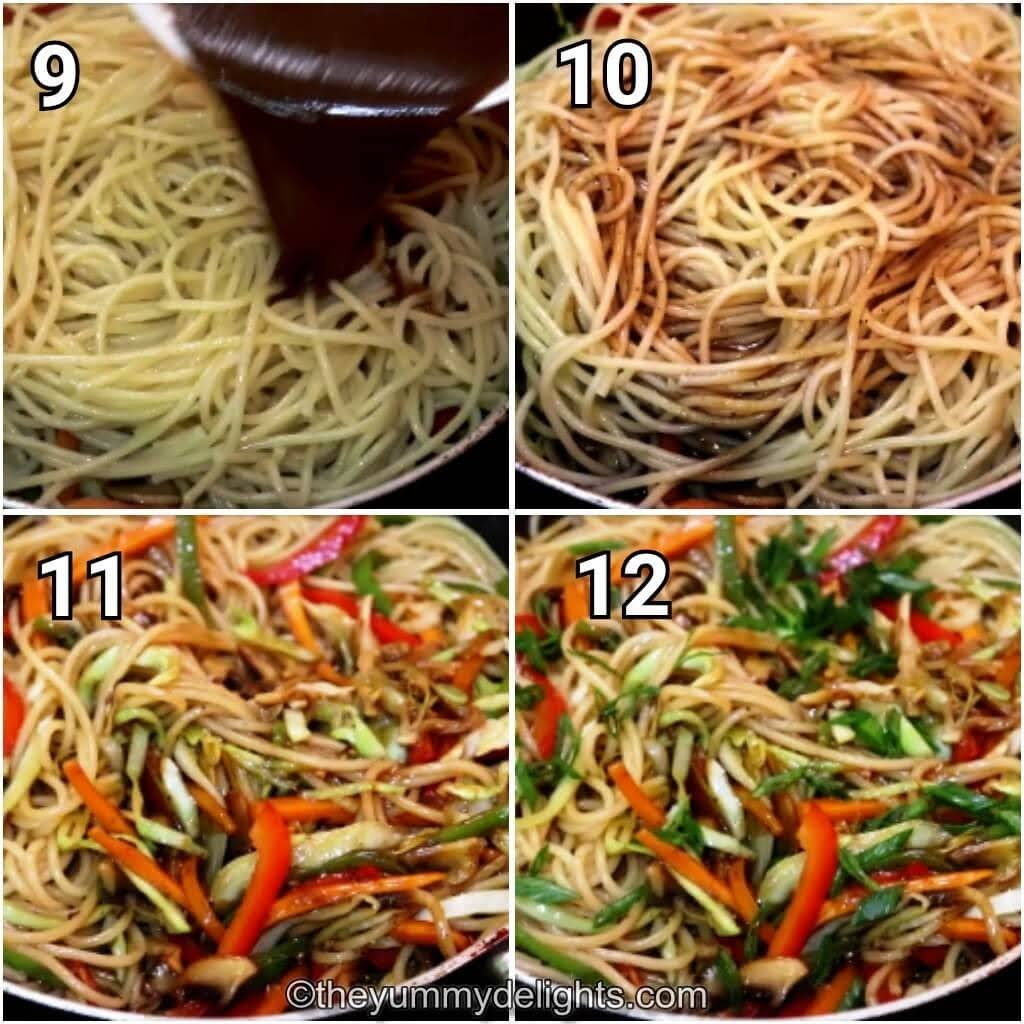 step by step image of tossing the cooked noodles, Lo Mein sauce & stir-fried vegetables.