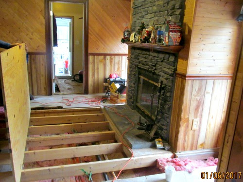 a new sheet of subflooring going on at LP Painted Ponys' house