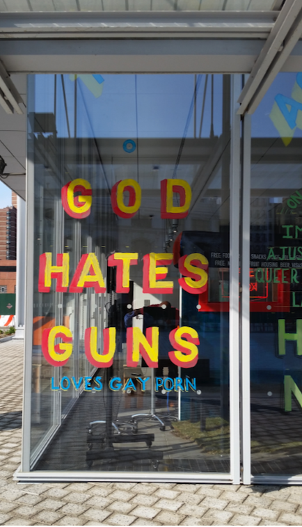 Columbia University says 'God hates guns...'