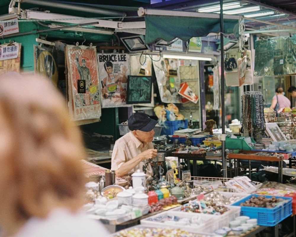 Hong Kong street market elderly vendor