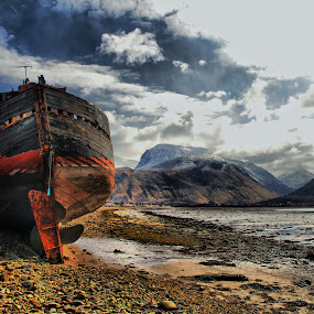 Old Trawler by Gordon Bain - Landscapes Mountains & Hills ( mountain, old trawler, lochaber, ben nevis, sea )
