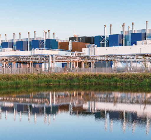 Clear waters reflect the beauty of our Eemshaven, Netherlands data center.