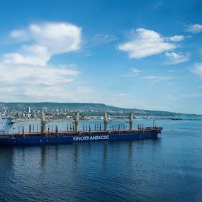Bound to Open Sea by Stoyan Baev - Transportation Boats ( water, sky, ship, horizon, sea, transportation )