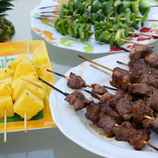 Steak Skewers with Green Peppers and Pineapple.
