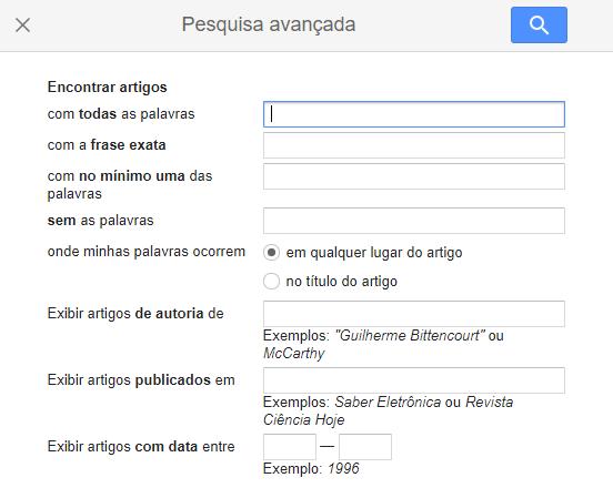função de pesquisa avançada para usar no Google Acadêmico