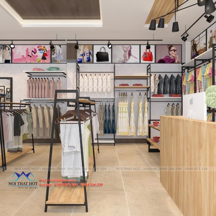 thiết kế shop thời trang nữ bằng sắt và gỗ thông