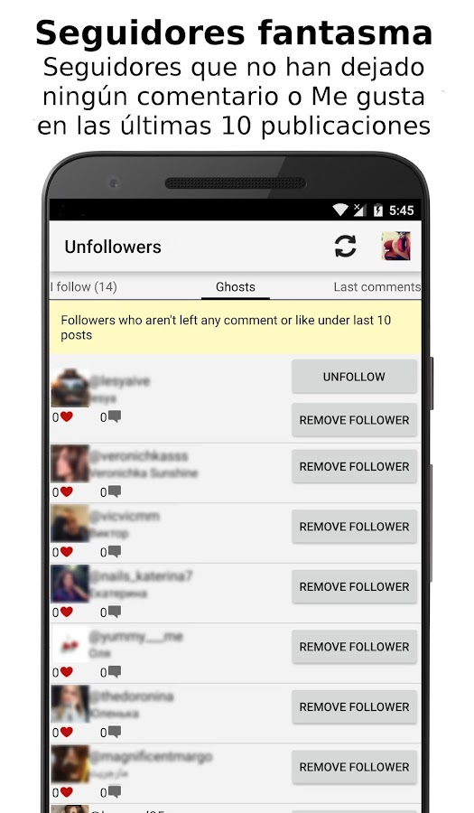 Unfollowers for Instagram: captura de pantalla