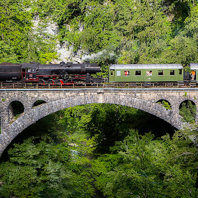 Steam train by Boris Podlipnik - Transportation Trains ( railway, voyage, train, transportation, bridge )