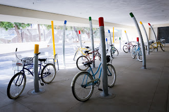 Photo: These metal sculptures also serve as parking areas for the Google bicycles.
