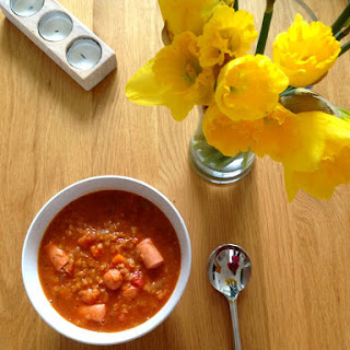 Lentil, Frankfurter and Tomato Soup