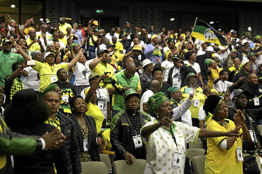ANC members singing and dancing at the ANC provincial conference in East London. Picture: SIBONGILE NGALWA