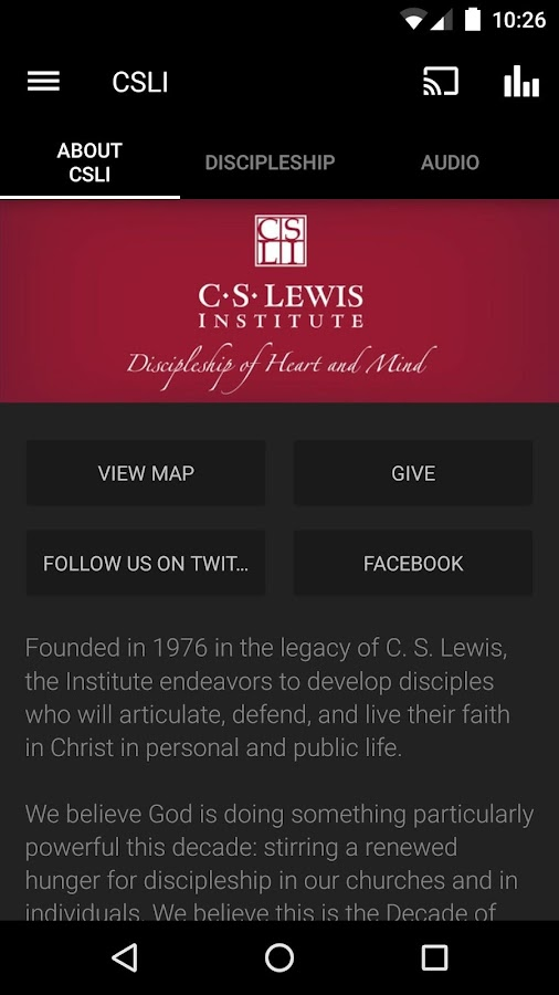 C.S. Lewis Institute- screenshot