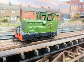 Photo: 009 Just a filler, but an example of a nice bit of modelling Imagineering spotted on the Imperial Western Railway of a standard Roco diesel loco body anglicised with a new cab. I would not like to guess what chassis it is on however! .