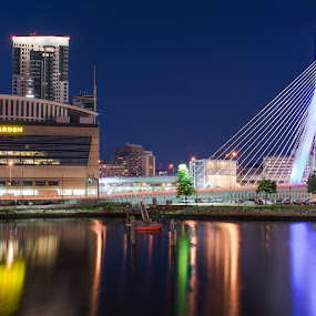Boston Garden and Zakim bridge by Paul Gibson - Uncategorized All Uncategorized ( long exposure, bridge )