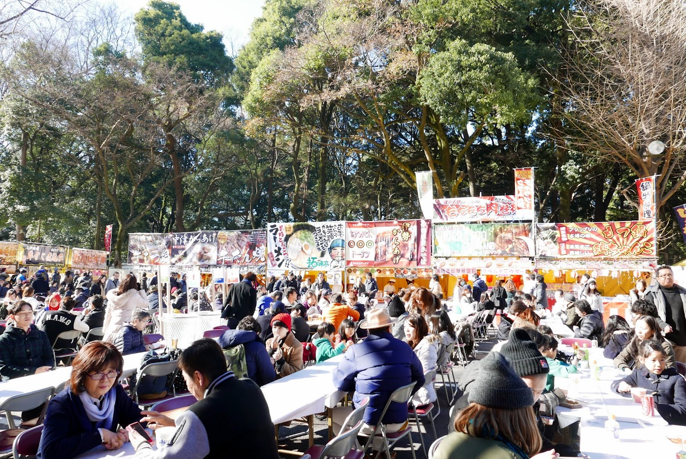 Some of the food on the way out of Meiji Shrine on the way to the Harajuku train station entrance on New Year's Day to feed the crowds coming from Hatsumode