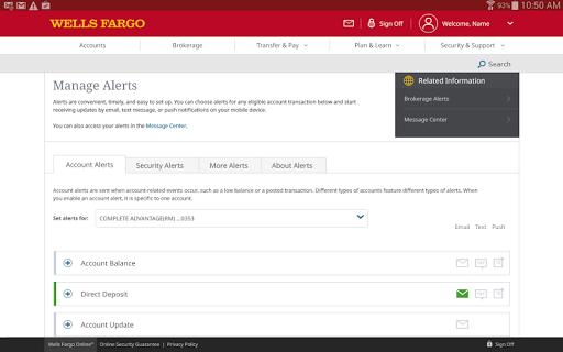 Wells Fargo for Tablet screenshot