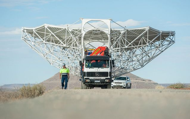 A Square Kilometre Array Meerkat antenna is transported to the international project site in the Karoo desert. Picture: SKA SA