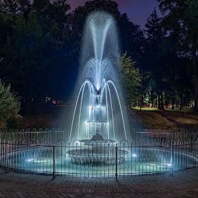 Marshall Square Park Fountain by Jim Salvas - City,  Street & Park  Fountains ( lights, water, basin, spray, fountain, night )