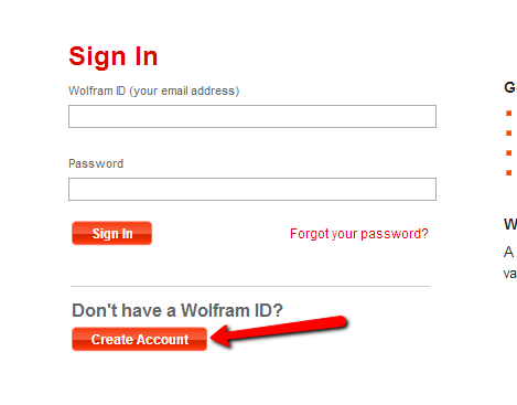 Create Wolfram Account