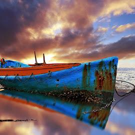 Chained by Jomy Jose - Digital Art Things ( auckland, sunset, larkings landing, beach, boat, beach haven, new zealand )