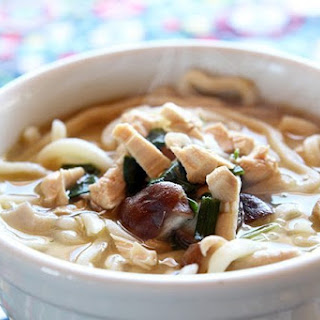 15 Minute Chicken Mushroom Udon Noodle Soup.
