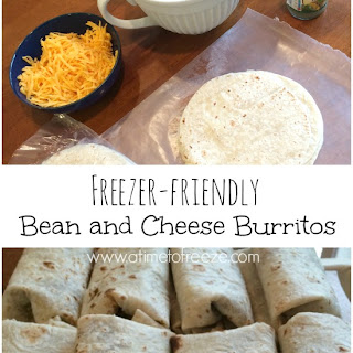 Freezer-friendly Bean and Cheese Burritos.