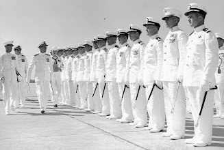 Photo: RADM J.C. Clifton inspects Chase Field Officers during the annual Admin Inspection June 19, 1959