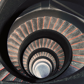 Spiral Staircase by Jenny Zhang - Buildings & Architecture Architectural Detail ( interior, building, pagoda, arch, tier, architecture, travel, chinese, singapore, roof, tower, stairs, stairway, floor, asia, archway, multi-storey, garden, construction, tall )