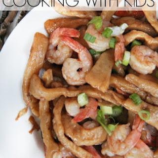 Homemade Udon Noodles and Shrimp Dinner