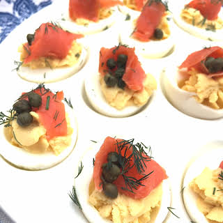 Whipped Deviled Eggs With Smoked Salmon.