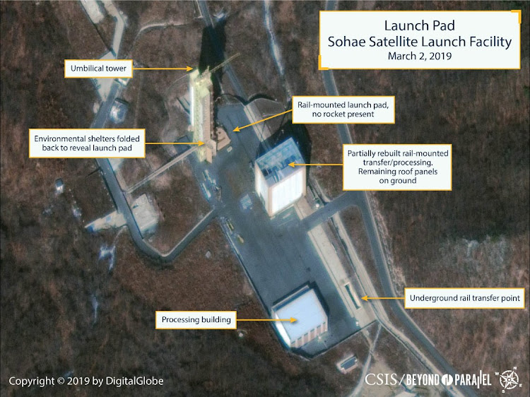The Sohae Satellite Launching Station launch pad features what researchers of Beyond Parallel, a CSIS project, describe as showing the partially rebuilt rail-mounted rocket transfer structure in a commercial satellite image taken over Tongchang-ri, North Korea, March 2 2019. Picture: CSIS/DIGITAL GLOBE/REUTERS