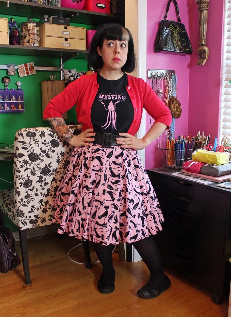 Pink Cats Skirt OOTD