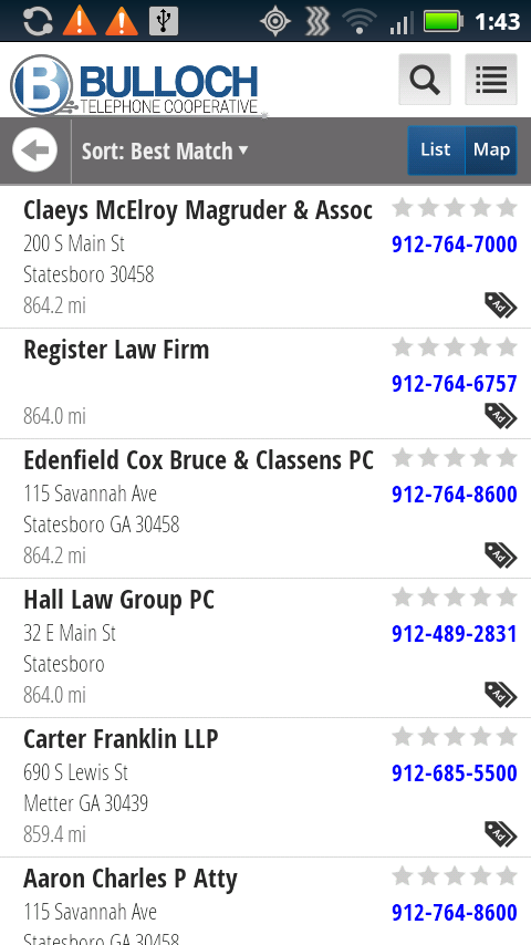 Bulloch telephone Directory- screenshot