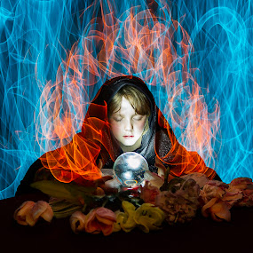 Young Gypsy by Jamie Rabold - Digital Art People ( light painting, crystal ball, el wire, long exposure, light )