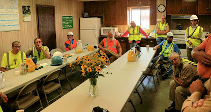 Photo: As you can see, we all had to wear reflective vests and hard hats for the plant tour.
