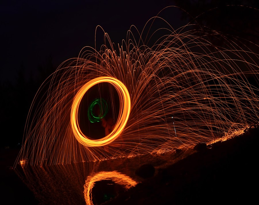 Fire Circle by P A - Abstract Light Painting ( reflection, fire circle, fire, circle, water )