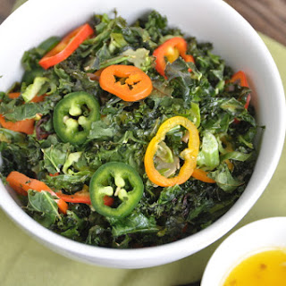Roasted Kale + Brussels Sprout Salad with Ginger Lime Dressing