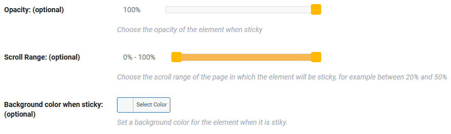 visual appearance of sticky header