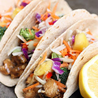 Thai Peanut Chicken Tacos with Pineapple Slaw.
